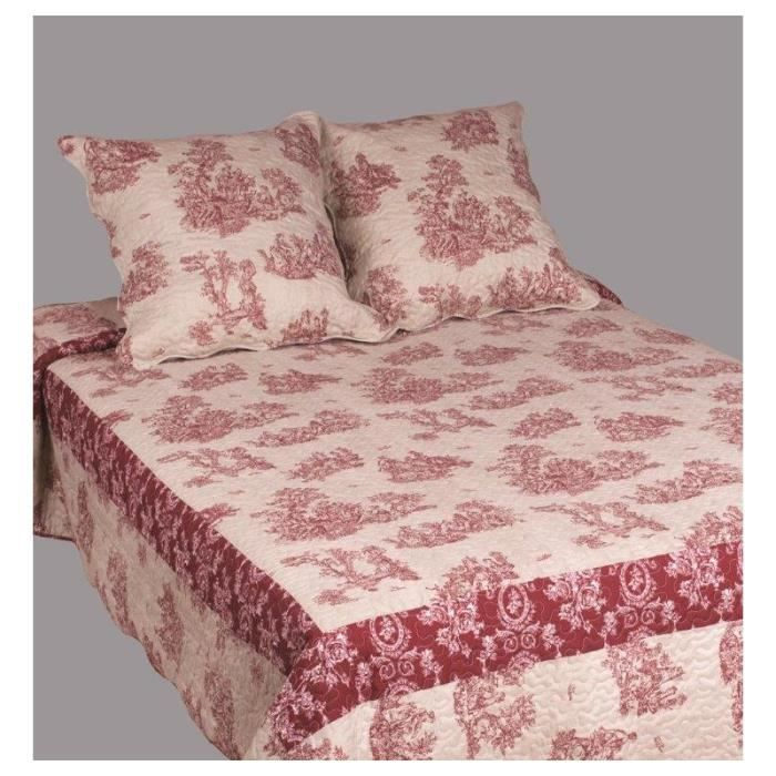 couvre lit boutis 1 place toile de jouy bicolore rouge. Black Bedroom Furniture Sets. Home Design Ideas