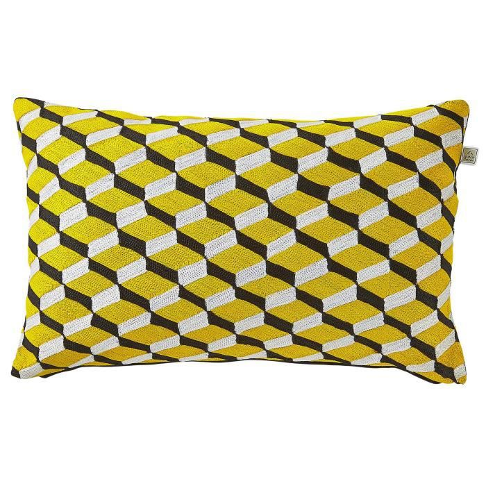 coussin cubes 30x50 cm jaune achat vente coussin cdiscount. Black Bedroom Furniture Sets. Home Design Ideas