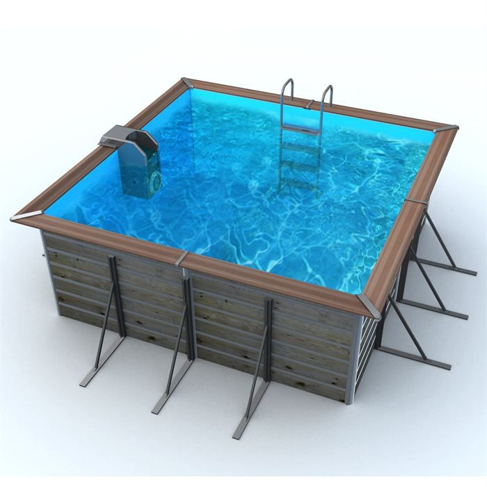 Waterclip piscine bois alu 310x310x147 optimum achat for Piscine carree semi enterree
