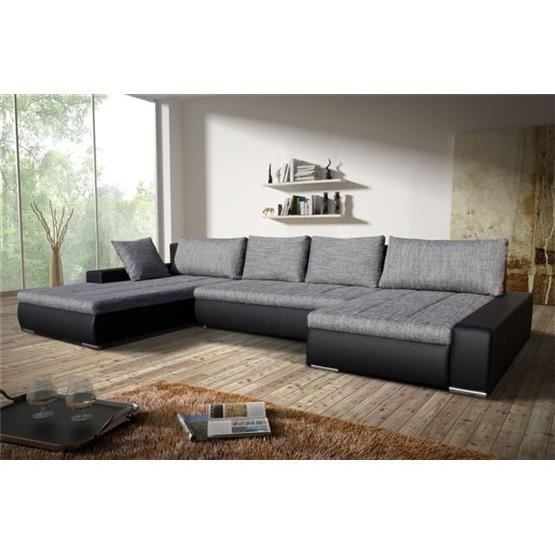 canap angle en u r versible halo gris clair et noir achat vente canap sofa divan. Black Bedroom Furniture Sets. Home Design Ideas