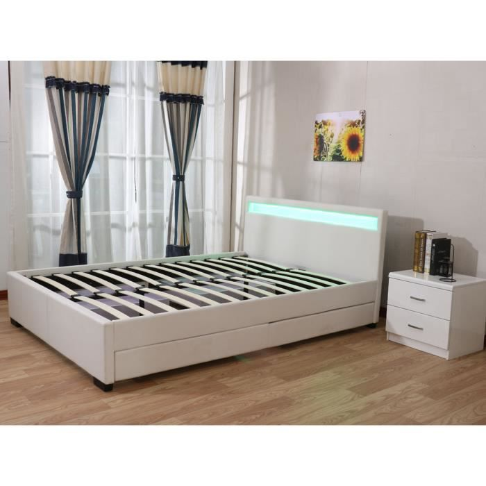lit double led nico 4 tiroirs 140 x 200 cm blanc achat vente lit complet lit double. Black Bedroom Furniture Sets. Home Design Ideas