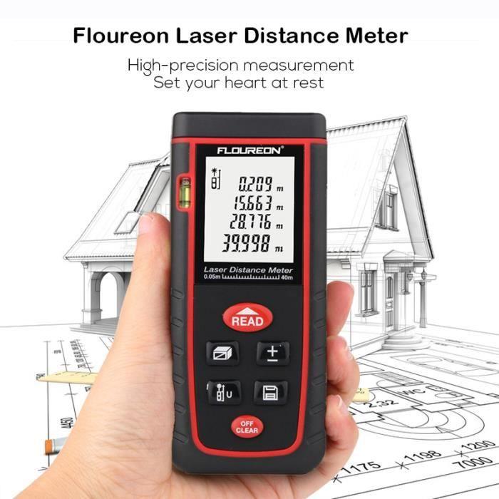 Floureon Télémètre laser 0.05 to 40m Haute précision Laser Distance Meter AAA
