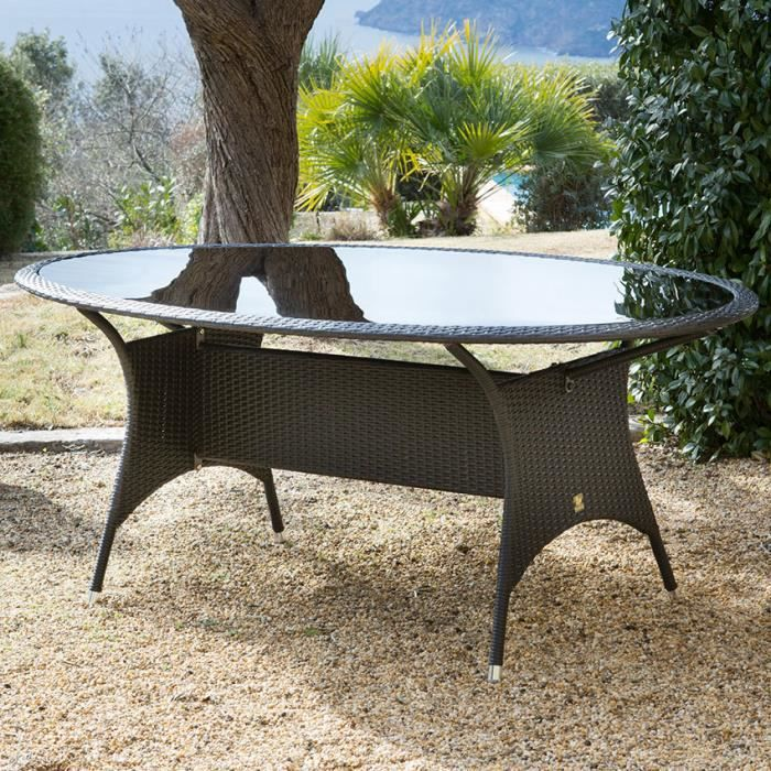 Table de jardin ovale r sine tress e 187x108cm olisa achat vente table de jardin table de for Housse de table de jardin en resine