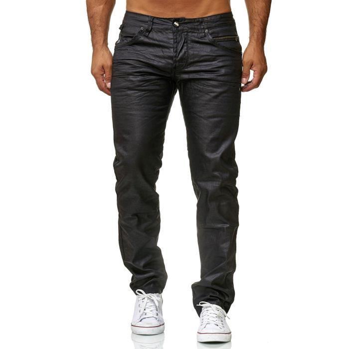 JEANS Pantalon Jeans Hommes Couché noires Slim Fit mince