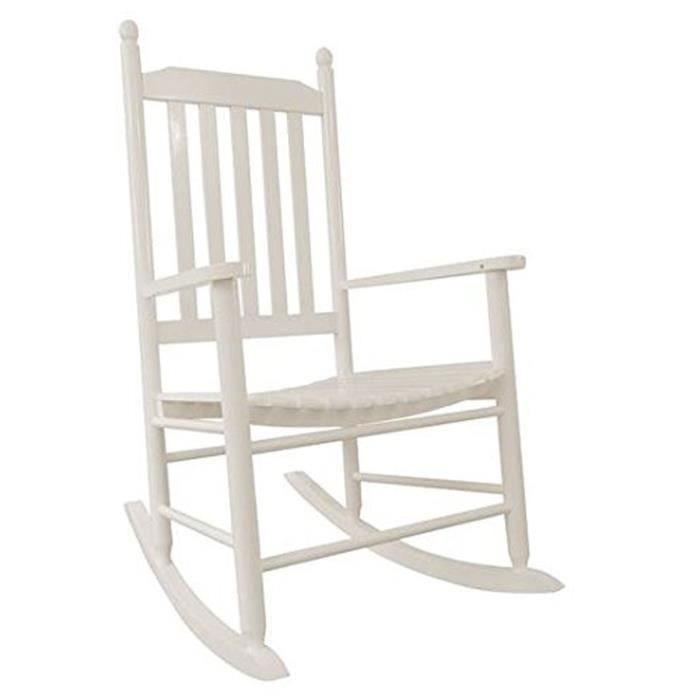 Rocking chair fort alamo en blanc brillant l61 x h112 x for Rocking chair blanc chambre bebe