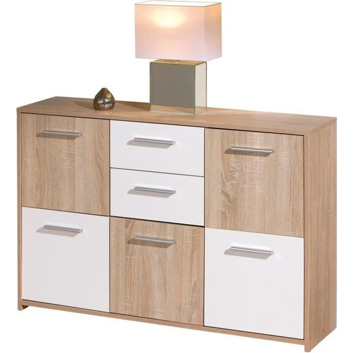 Buffet elvezia commode bahut moderne meuble bas de salon for Meuble buffet salon