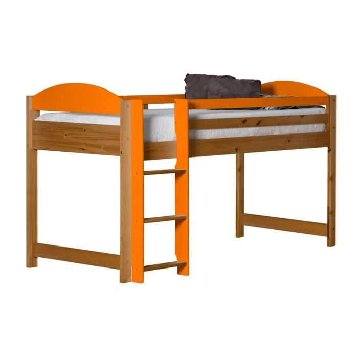 lit mi haut swithome maximus 90x190 naturel orange achat vente structure de lit cdiscount. Black Bedroom Furniture Sets. Home Design Ideas