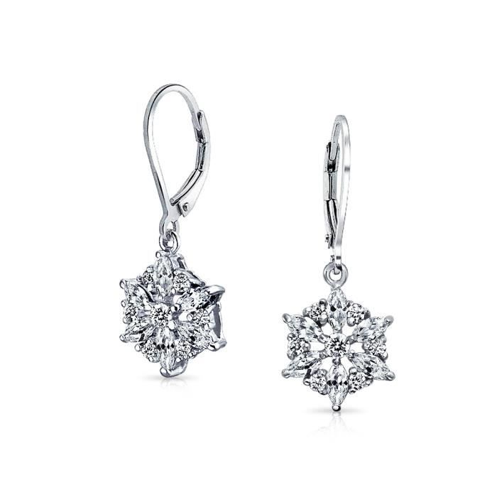 Bling Jewelry Sterling argent marquise cut CZ Goutte Flocon Boucles darrière