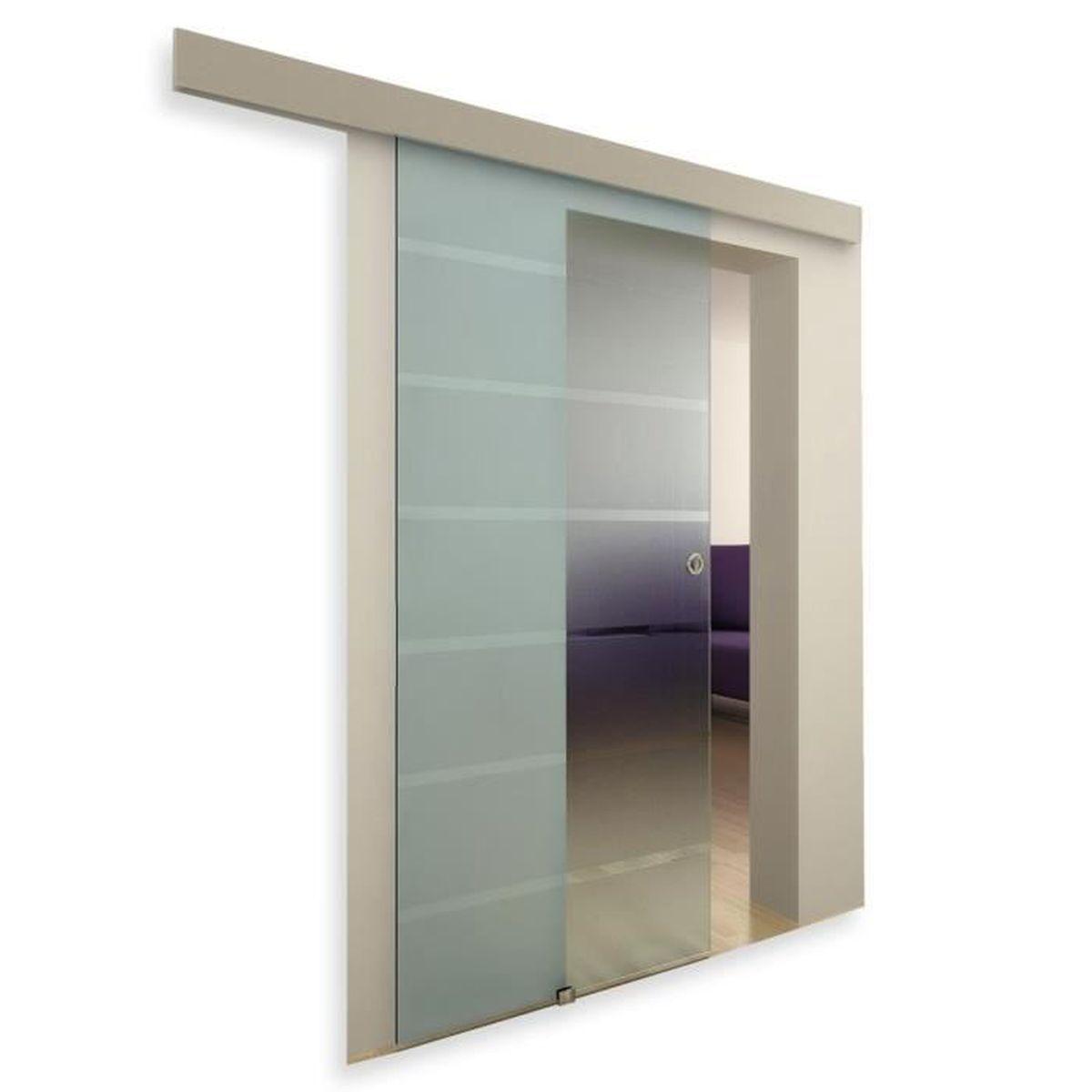Porte Verriere Interieure Occasion porte coulissante en verre à galandage dépoli-opaque - achat