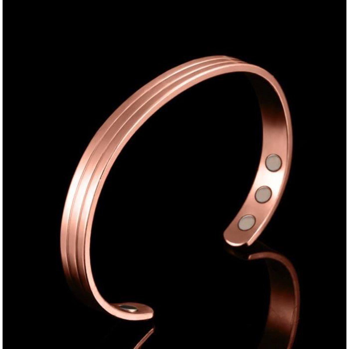 MPS/® Bracelet jonc avec Six aimants Bracelet magn/étique en cuivre