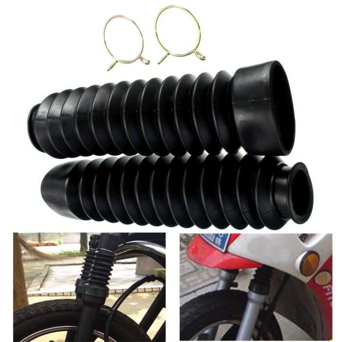 Cache-fourche en caoutchouc pour moto Gu/êtres Gators Bottes Amortisseur anti-poussi/ère Couvercle de fourche avant 205x42mm Black