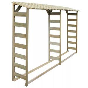 ABRI BÛCHES Double abri de stockage du bois 300x44x176 cm Pin