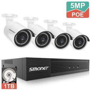 CAMÉRA DE SURVEILLANCE SMONET 8 Canaux 5MP POE Système des Caméras Kit Vi