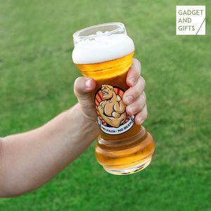 MISE EN BOUCHE Verre de Bière en forme d'altère No Pain No Beer -