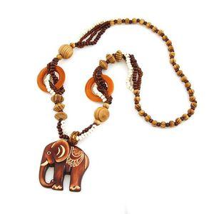 SAUTOIR ET COLLIER SHLK collier pendentif éléphant en bois du mode Bo