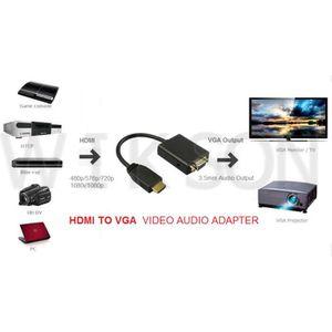 CÂBLE AUDIO VIDÉO Convertisseur HDMI vers VGA + Audio  adaptateur HD