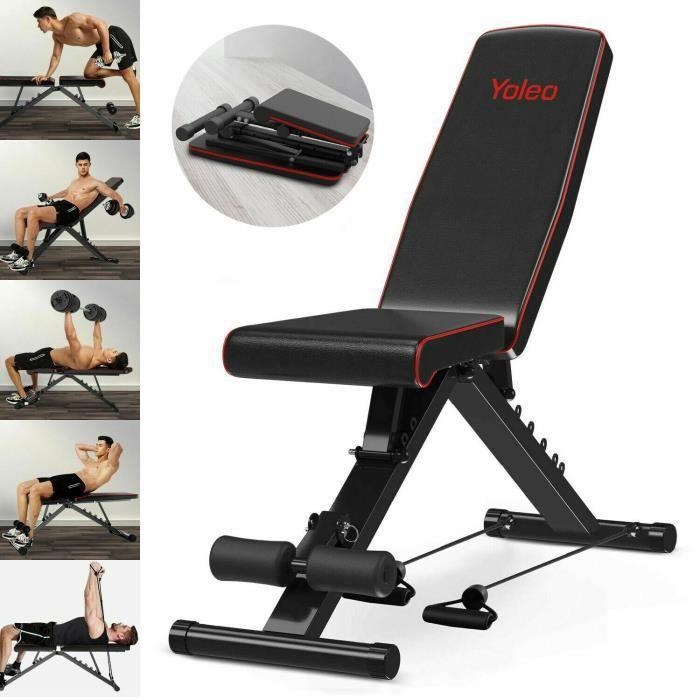 YOLEO Banc de Musculation Pliable Multifonction Sit-up Fitness Musculation Bras Gym Domicile Bureau Maison