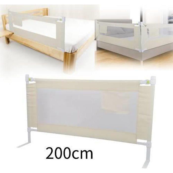 Barre de securite Barrière de lit de sécurité enfant portable 200 * 68 cm - Ascenseur vertical - Réglage à 8 vitesses - Blanc cassé
