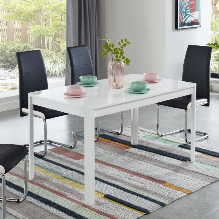 DAVIA Table à manger - laqué blanc brillant - L140cm