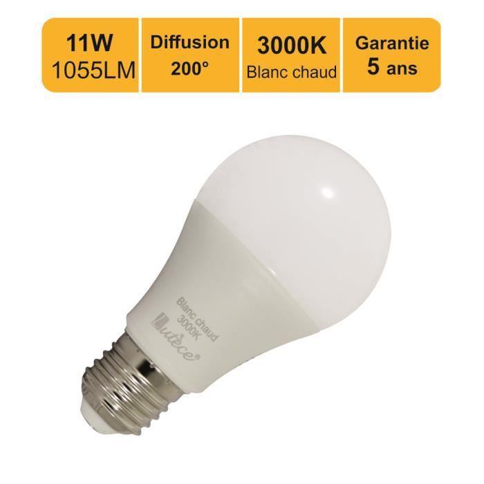 Lot de 12 ampoules LED E27 11W (equiv. 75W) 1055Lm 3000K