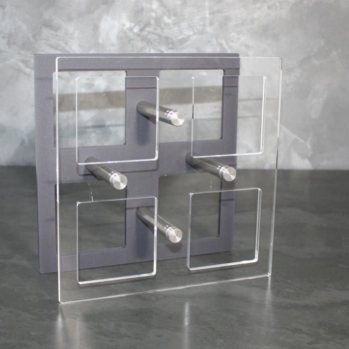 Acryluxe Design by VFPI - Porte Bouteilles Design en Verre Acrylique - Plexi, Modèle Carré, Couleur GRIS et Transparent