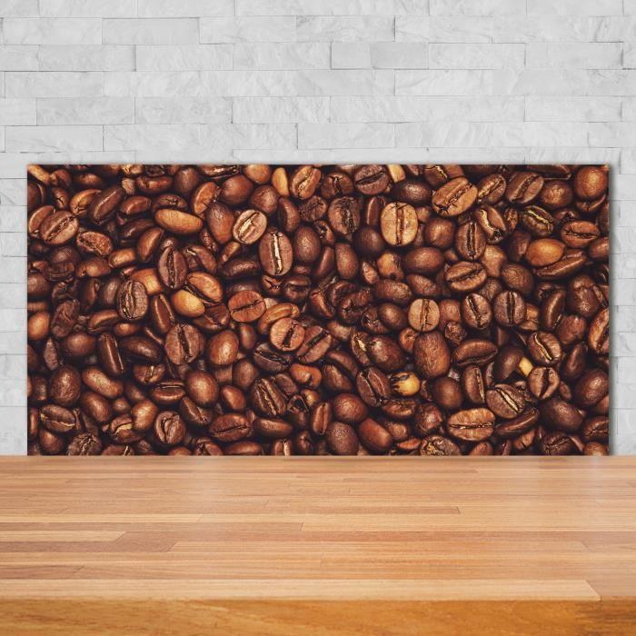 Tulup 140x70cm Crédence de cuisine sur verre sécurité:- Nourriture boissons - Grains De Café - Brun