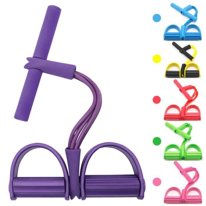 4 Tubes Bandes de Résistance Corde élastique Multifonctionnelle Sit-up Physique Gym Fitness (Violet)