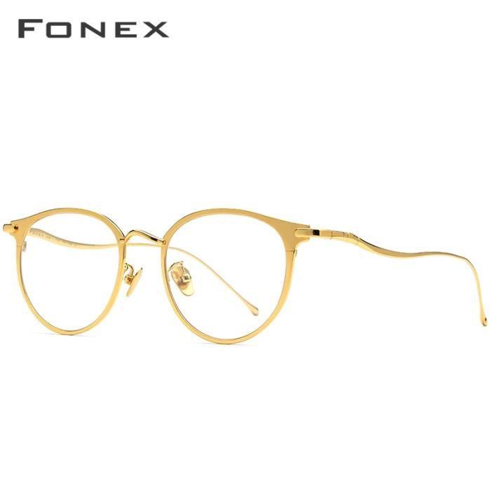 Montures de Lunettes de vue,FONEX lunettes yeux rondes rétro hommes En titane pur, montures de lunettes rétro, myopie - Type Or