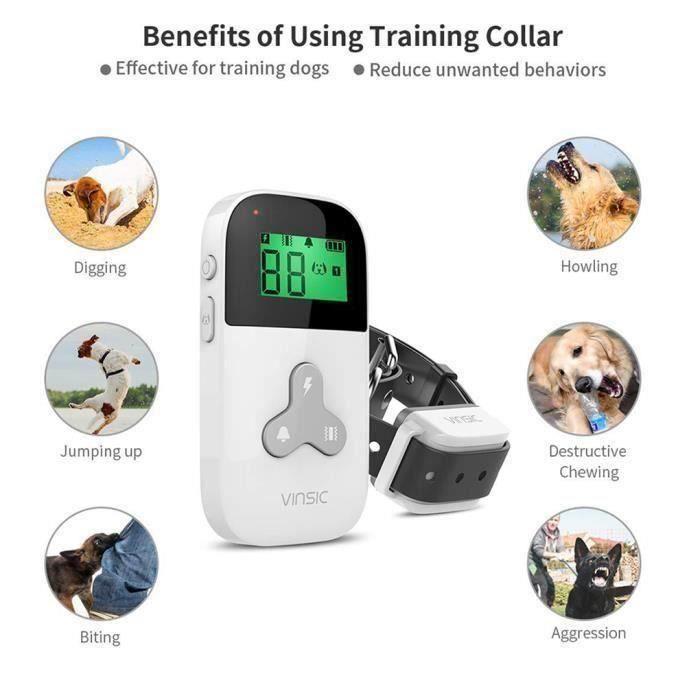 Collier Anti-aboiement pour Chien Ultrasons Intelligent électrique Collier Imperméable avec Télécommande BLANC