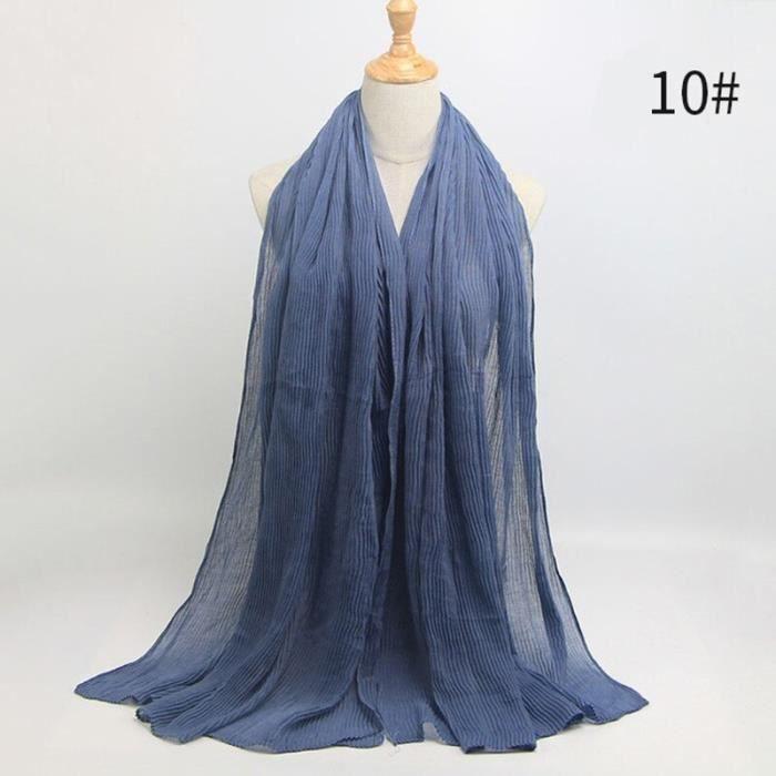 Foulard hijab en coton froissé, écharpe douce, écharpe chaude, écharpe chaude, châle, 25 couleurs, Design hiver, tendanc DY5185