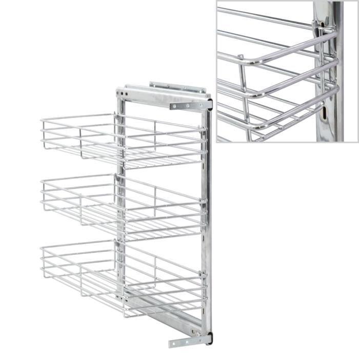 Panier à 3 niveaux métallique de cuisine 47x25x56 cm-QUT