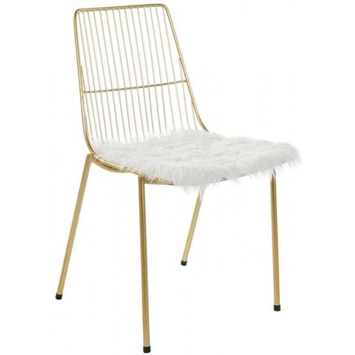 Chaise Métal Doré avec Coussin Fourrure Polyester Blanc 0,000000