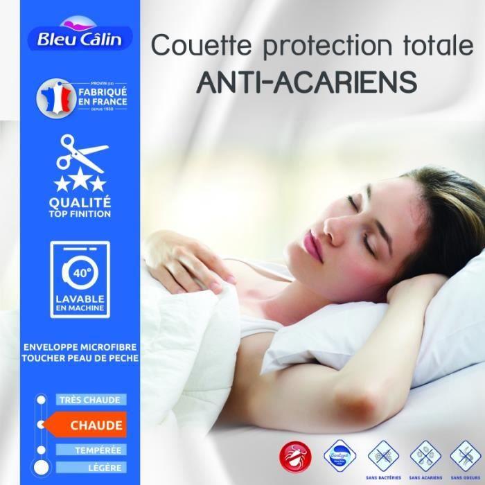 Couette protection totale anti acariens 400 gr/m² 220 x 240 cm pour lit 2 places 140 x 190 cm à 160 x 200 cm