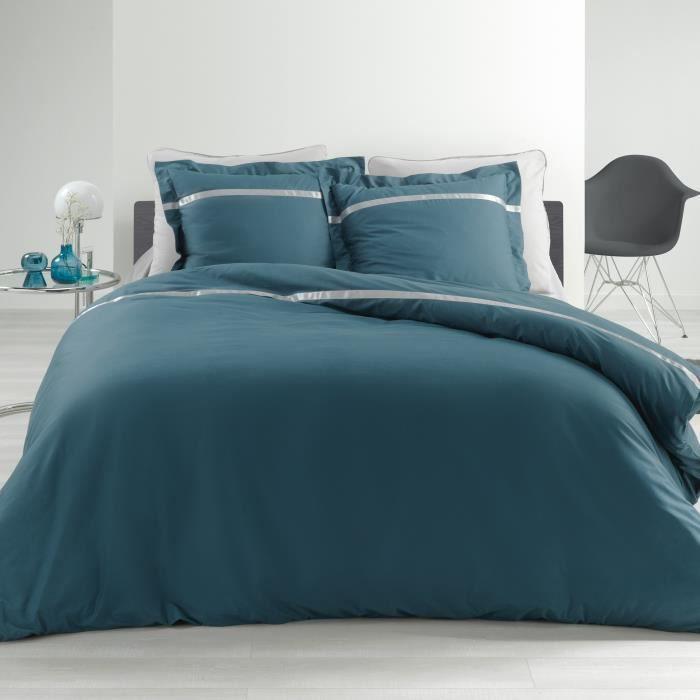 CDaffaires Ensemble en percale 78 fils parure 260x240 cm Satinéa bleu + drap housse 160x200 cm gris