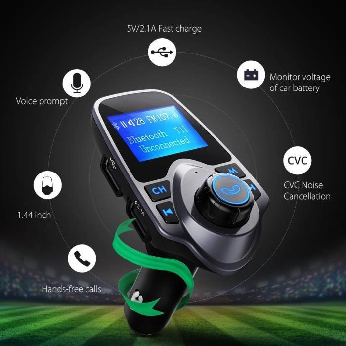 Transmetteur FM Bluetooth Voiture FM Transmetteur Voiture Kit Main Libre avec USB Audio Lecteur MP3 pour iPhone,Téléphones Android