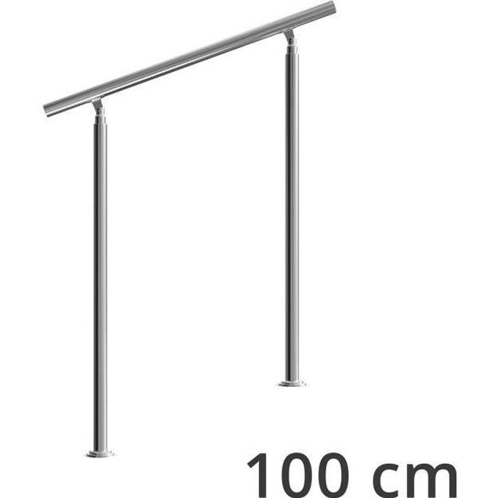 Rampe d'escalier 100 cm acier inoxydable sans traverse main courante balustrade garde-corps aide escalier balcon intérieur extérieur