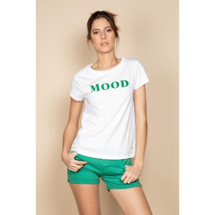 DEELUXE T-shirt à message col rond MOOD Green