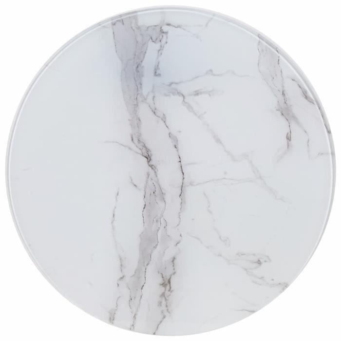 Luxueux Magnifique-Dessus de table Plateaux Blanc ?70 cm Verre avec texture de marbre