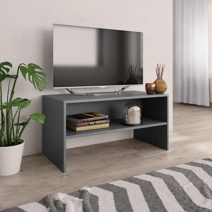 Meuble TV-contemporain Meuble salon Banc TV Gris 80 x 40 x 40 cm Aggloméré