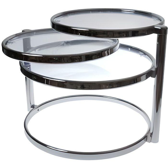 Table basse design verre trois plateaux