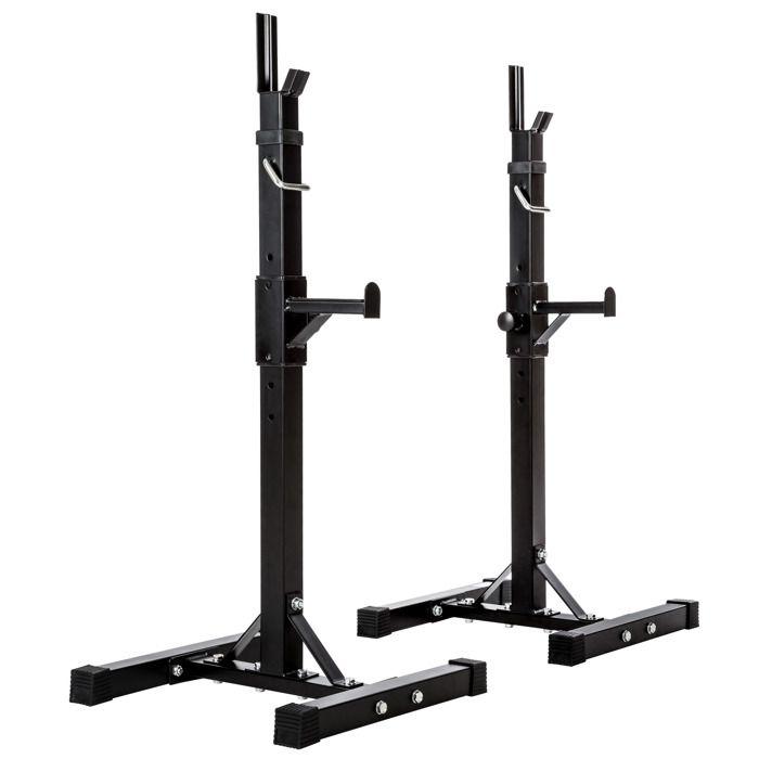 TECTAKE Rack de Rangement pour Haltères Capacité 100 kg 49 cm x 46 cm x 157 cm en Acier Noir