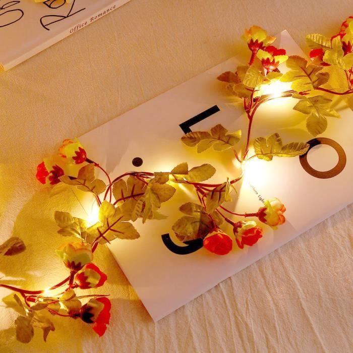 20 LED Rose Fleur Fée Guirlande Lumineuse De Noce De Noël Décor De Noël Lampes