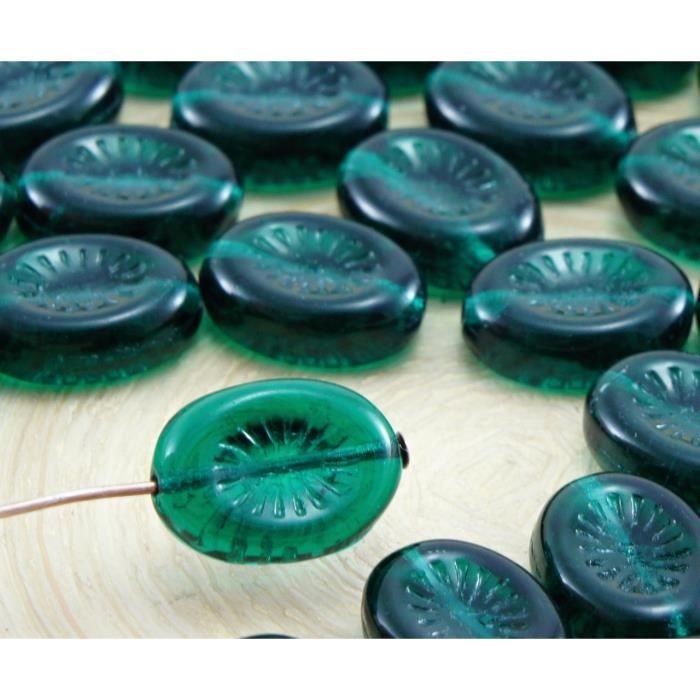 9 perles de verre rectangle 14mm vert mat verre perles pour Bijoux Fabrication Neuf