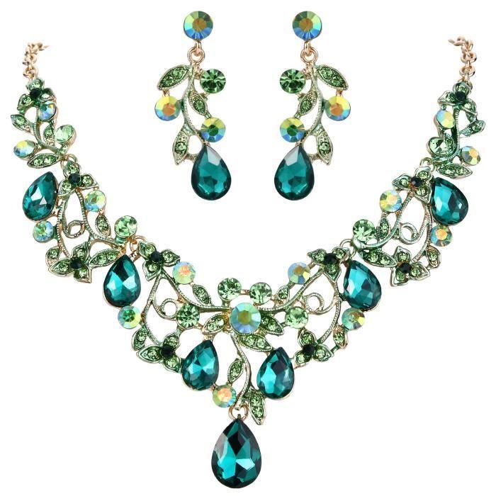 Clearine Femme Bohemian Boho Cristal Goutte Perle Artificielle Filigran/é Floral Collier Plastron Boucles doreilles