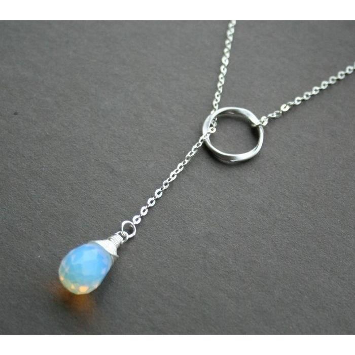 Hot Fashion Natural bijoux en forme de cœur moonstone pierres précieuses Argent Collier Pendentif