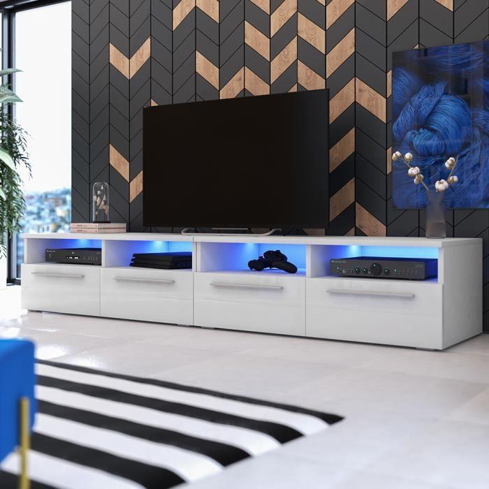 Meuble Tv Meuble Salon Phiris Double 2x100 Cm Blanc Mat Blanc Brillant Avec Led Style Contemporain Achat Vente Meuble Tv Meuble Tv Phiris Double 2x Cdiscount