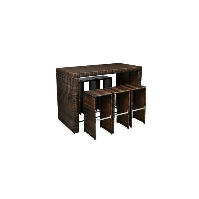 Bar de jardin en rotin table haute avec 6 tabourets for Tabouret et table haute