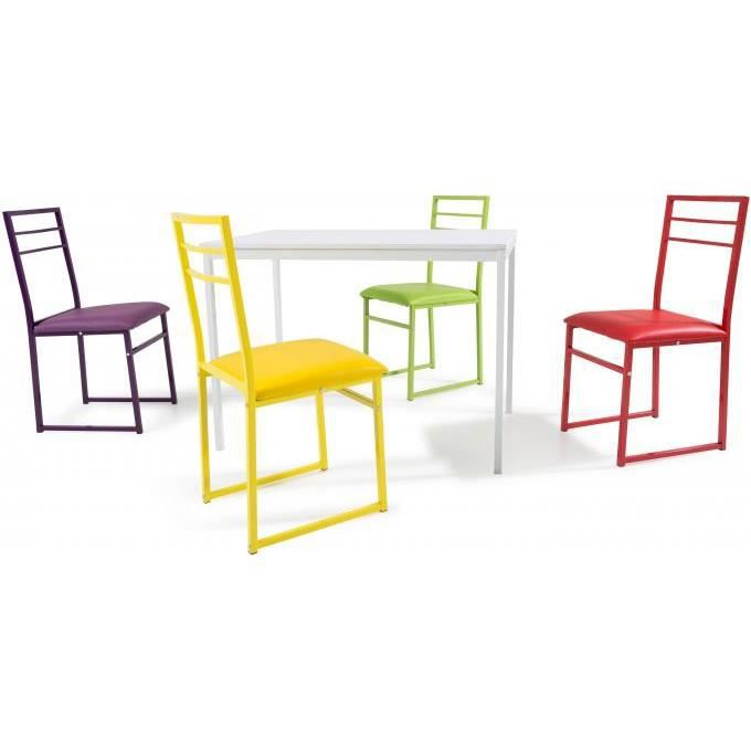 Ensemble table et chaises en acier multicolore achat for Ensemble table et chaise de cuisine design