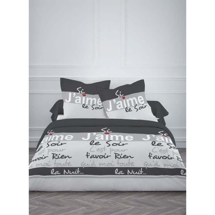 housse de couette 220x240 cm 100 polyester j 39 aime achat. Black Bedroom Furniture Sets. Home Design Ideas