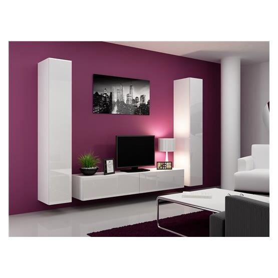 Ensemble meuble tv design mito 180 blanc achat vente for Ensemble meuble tv blanc